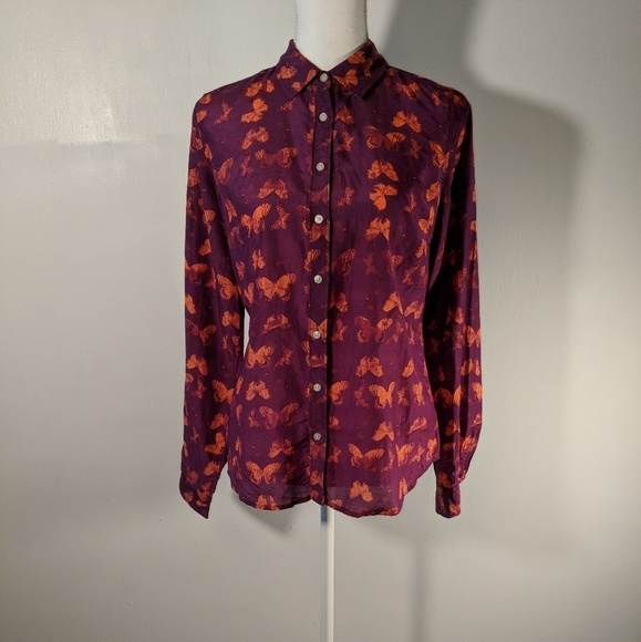 2c52b54d3df9c NWT JCP womens blouse SILK blend BUTTERFLY medium